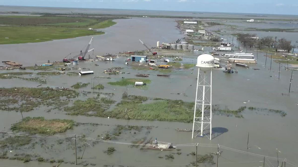Helicopter video shows extensive flooding and storm damage from Hurricane Laura in the Cameron, La., area.