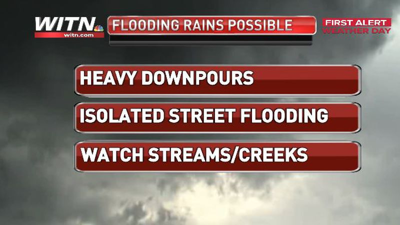 Scattered downpours will keep the First Alert Weather Day in effect through Friday evening.