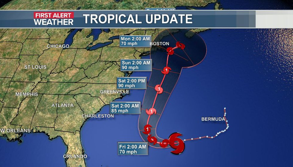 The official track of Tropical Storm Henri from the National Hurricane Center as of the 5 a.m....