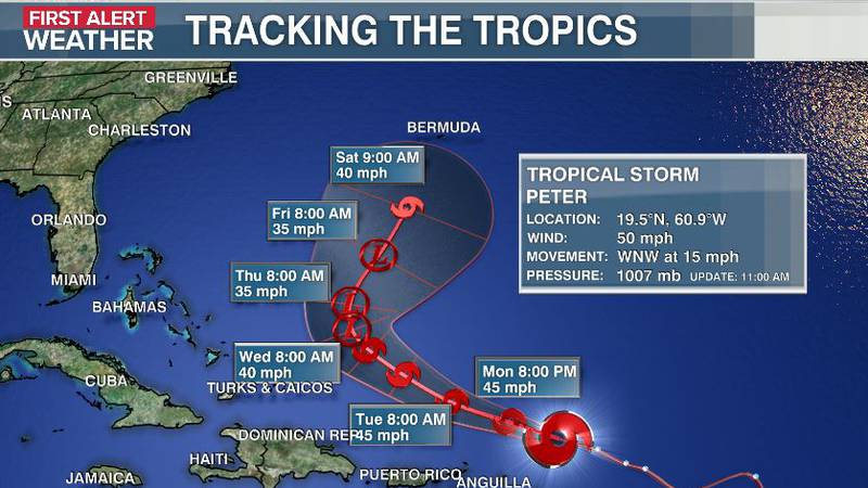 Peter Is expected to stay well offshore of the U.S. coastline.