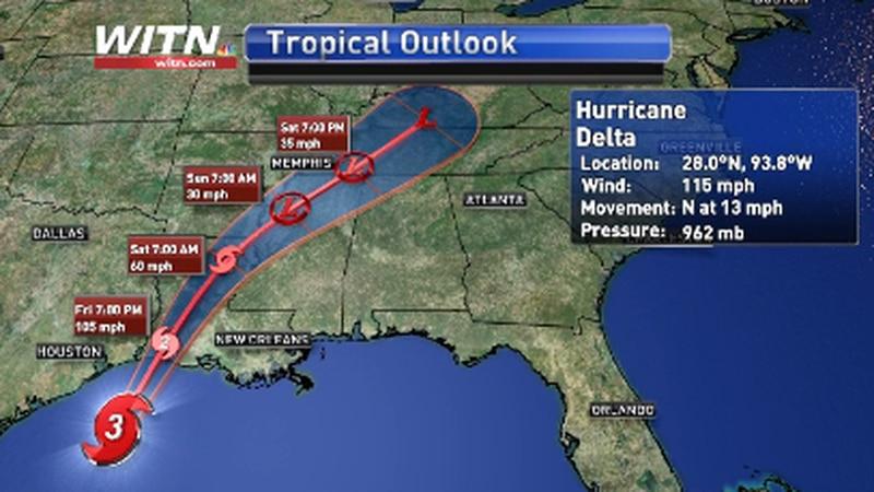 Hurricane Delta at midday Friday