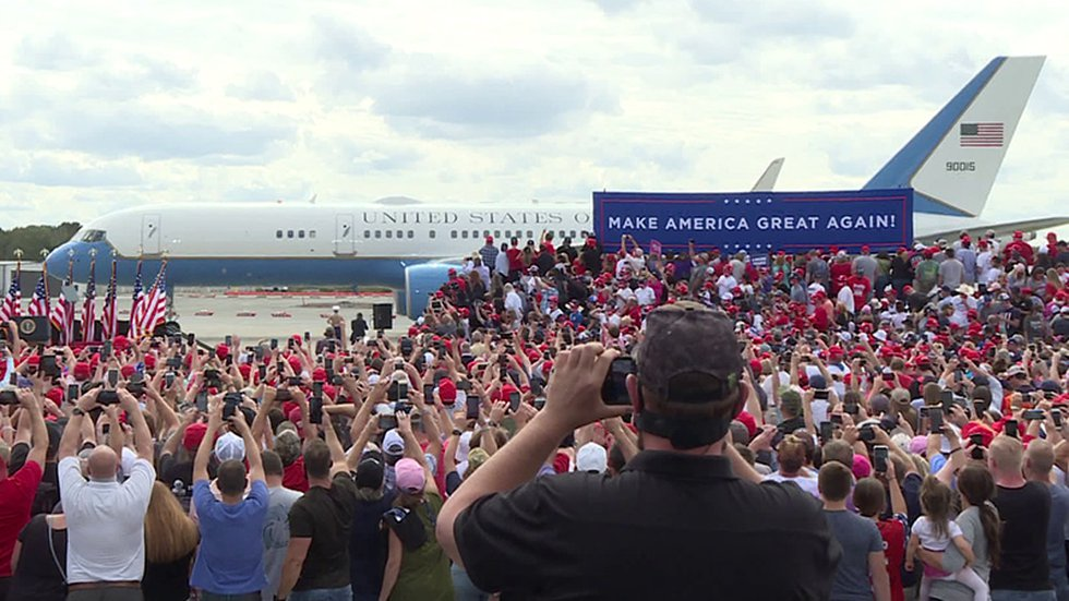 Air Force One pulls up to a cheering crowd in Greenville on Thursday.