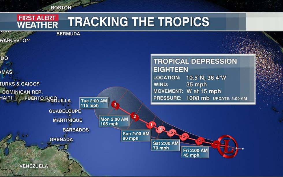 The storm will likely become Tropical Storm Sam on Thursday