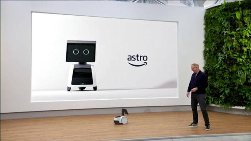 The robot uses cameras, sensors and artificial technology to avoid walls or dogs, and Amazon...