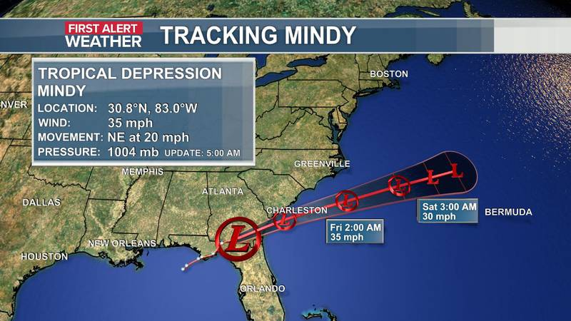 The official data and track of Tropical Depression Mindy as of the 5 a.m. update (9-9).