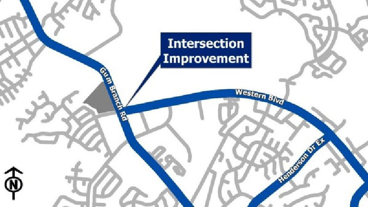 Improvements are underway for the Gum Branch Road and Western Boulevard intersection.