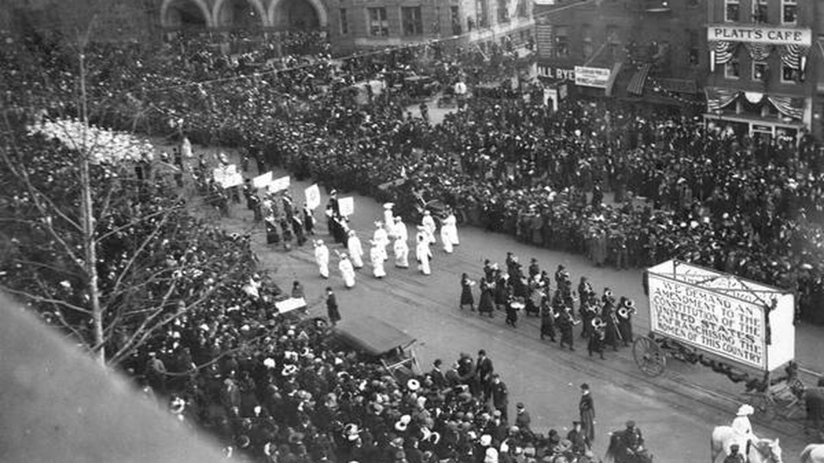 The Suffragette movement pushing for passage of the 19th Amendment to give women the right to vote.