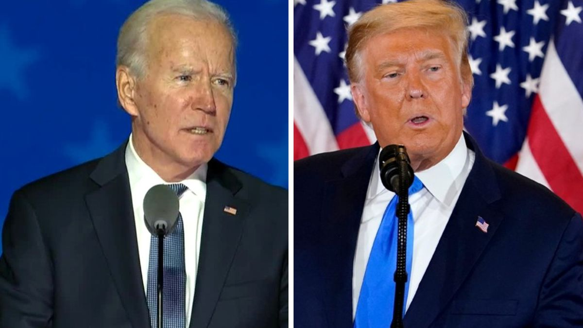 From left: Democratic nominee Joe Biden and President Donald Trump each speak early Nov. 4,...