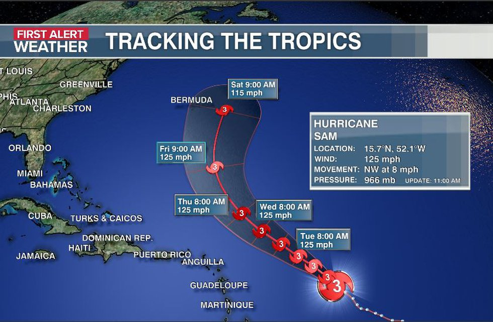 Sam's track continues to remain east of Bermuda