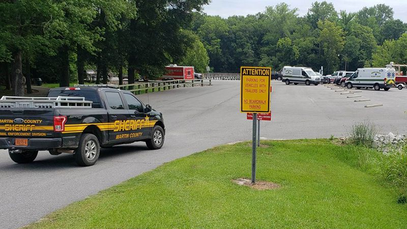 Crews from two counties are searching for a person in the Roanoke River.