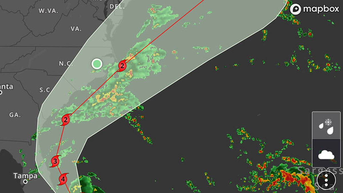Tap the three dots on your radar map to turn the tropic tracks on or off. See the story for the complete steps.