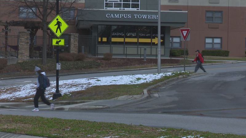 A crosswalk at East Carolina University was made more visible to drivers and pedestrians by...