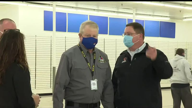 State Emergency Management Director Mike Sprayberry stopped by one eastern Carolina vaccine...