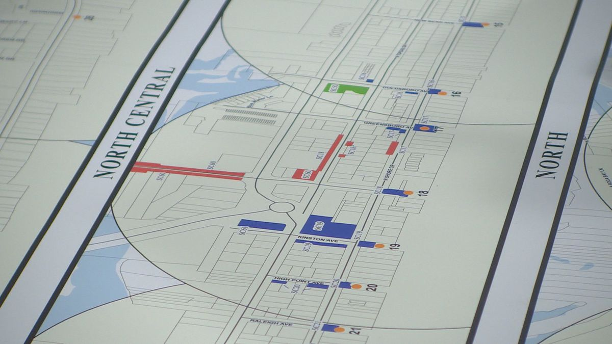 A map of Surf City's plan to implement paid parking.