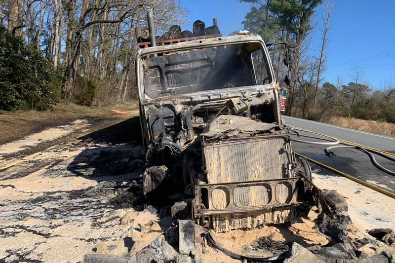 A tractor-trailer is destroyed after catching fire Wednesday in Jones County.