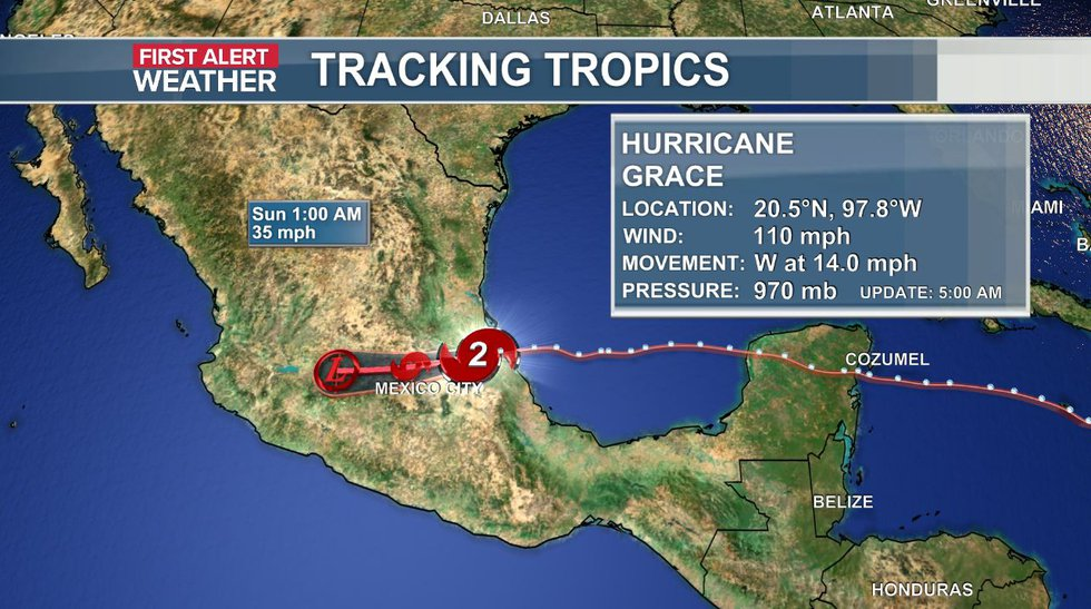 The official track and data of Hurricane Grace as of the 5 a.m. update.