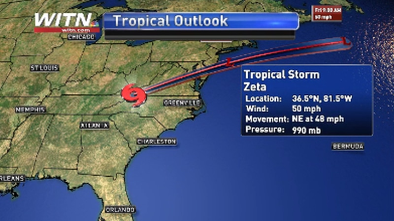 Tropical Storm Zeta midday Thursday