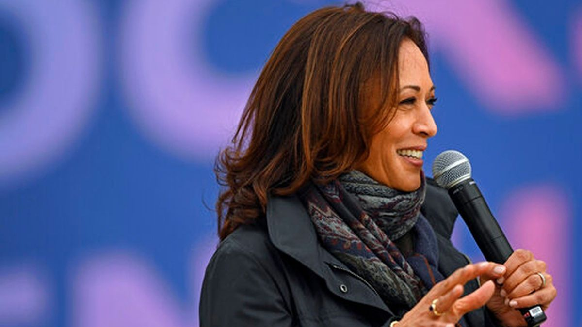 Democratic vice presidential candidate Sen. Kamala Harris, D-Calif., speaks during a campaign...