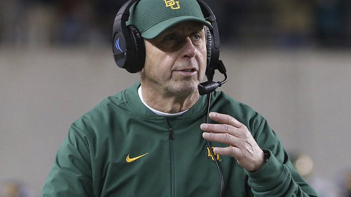 FILE - In this Oct. 31, 2019, file photo, Baylor defensive coordinator Phil Snow walks the sideline in an NCAA college football game against West Virginia in Waco, Texas, The NFL's Carolina Panthers have hired former Baylor defensive coordinator Phil Snow as their new defensive coordinator. (AP Photo/Jerry Larson, File)